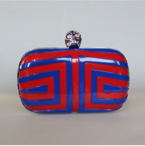 Alexander McQueen Geometric Stripe Skull Box Clutch