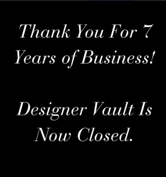 Designer Vault Closes, Files Chapter 7