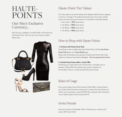 Haute Points Currency On Haute Trader