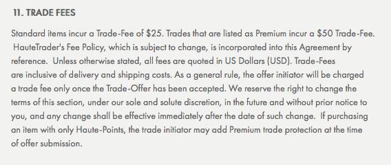 Haute Trader Fees