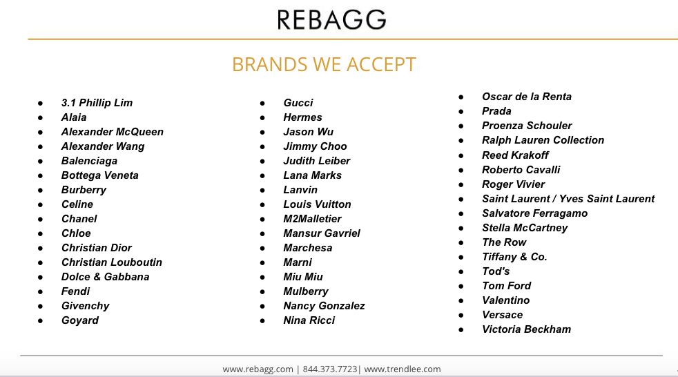 Rebagg Brands We Accept